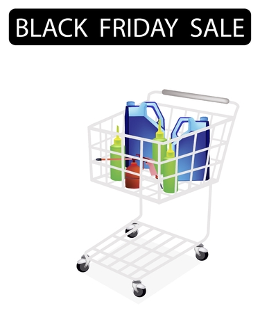 A Shopping Cart Full with Various Size of Engine Oil or Motor Oil Packaging for Black Friday Shopping Season and Biggest Discount Promotion in A Year.
