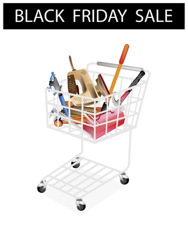 Black Friday Shopping Cart Full with Various Type of Auto Service and Repair Tool Kits for Black Friday Shopping Season and Biggest Discount Promotion in A Year.  Vector