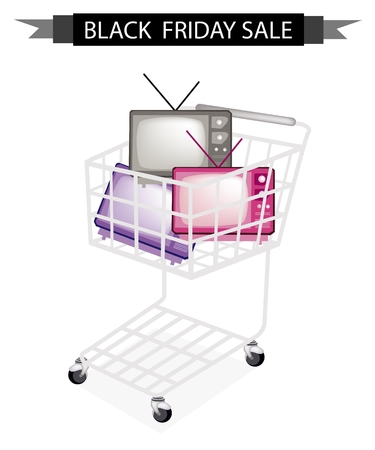 watch new year: Black Friday Shopping Cart Full with Various Colors of Retro Television for Black Friday Shopping Season and Biggest Discount Promotion in A Year.  Illustration