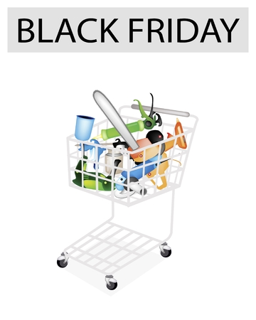 caulk: A Shopping Cart Full with Capenter Tools for Black Friday Shopping Season and Biggest Discount Promotion in A Year.  Illustration