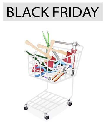 rasp: Black Friday Shopping Cart Full with Carpenter Craft Tools, Axe, Eyelet Punch, Rasp and Awl for Black Friday Shopping Season and Biggest Discount Promotion in A Year.