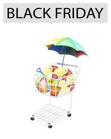 A Shopping Cart Full with Various Beach Items for Black Friday Shopping Season and Biggest Discount Promotion in A Year.  Vector