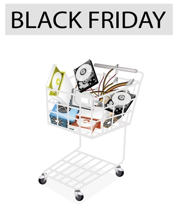 A Shopping Cart Full with Set of Hardware Computer for Black Friday Shopping Season and Biggest Discount Promotion in A Year.  Vector