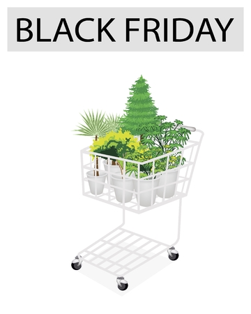 A Shopping Cart Full with Variety of Plants, Evergreens and Green Trees for Black Friday Shopping Season and Biggest Discount Promotion in A Year.  Vector