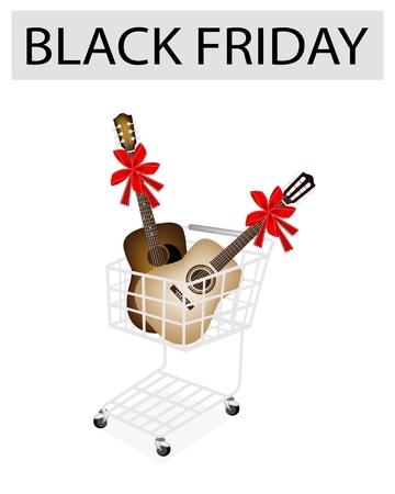 guitarra clásica: Un carrito de compras completa con la guitarra cl�sica y la guitarra ac�stica para el Viernes Negro de compras navide�as y Promoci�n del descuento grande en un a�o. Vectores