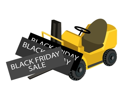 Powered Industrial Forklift Loading Black Friday Deal Card for Start Christmas Shopping Season and Biggest Discount Promotion in A Year.  Vector