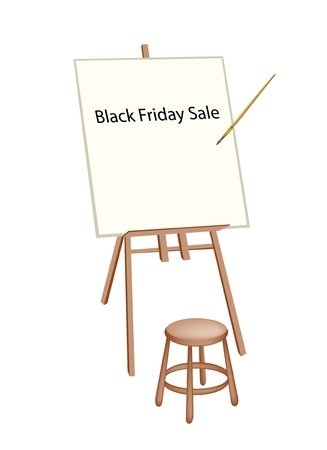 Wooden Easel with Word Black Friday Sale, Sign for Shopping Season and Biggest Discount Promotion in A Year.  Vector
