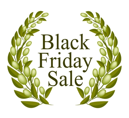Illustration of Beautiful Black Friday Laurel Wreath for Shopping Season and Biggest Discount Promotion in A Year.  Vector