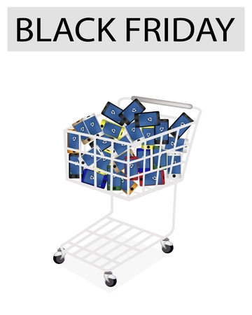 A Shopping Cart Full with Various Colors of Cellular Phone or Mobile Smart Phone for Black Friday Shopping Season and Biggest Discount Promotion in A Year.  photo