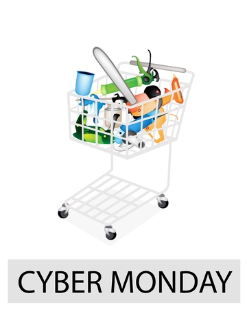 A Shopping Cart Full with Capenter Tools for Cyber Monday Shopping Season and Biggest Discount Promotion in A Year.  Vector