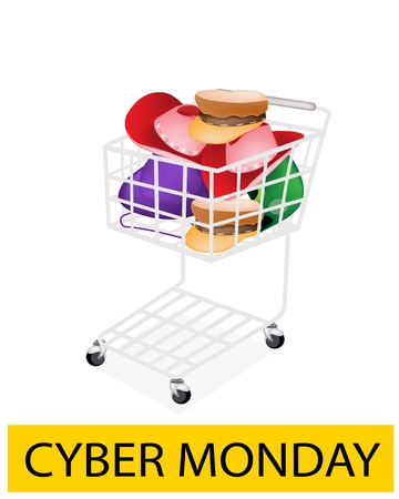panama hat: A Shopping Cart Full with Various Colors Hats and Helmet for Cyber Monday Shopping Season and Biggest Discount Promotion in A Year.  Illustration