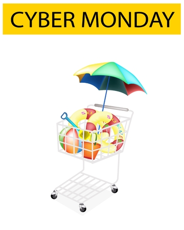 A Shopping Cart Full with Various Beach Items for Cyber Monday Shopping Season and Biggest Discount Promotion in A Year.  Vector