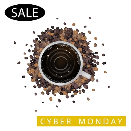 Cyber Monday, Latte Art of Milk Cream Writing Black Friday Sale on A Cup of Coffee for Black Friday Shopping Season and Biggest Discount Promotion in A Year.  Vector