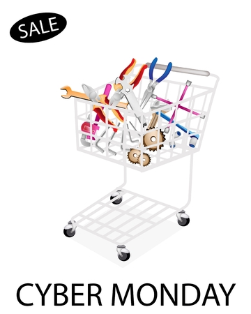 lug: Shopping Cart Full with Various Type of Auto Service and Repair Tool Kits for Cyber Monday Shopping Season and Biggest Discount Promotion in A Year.  Illustration