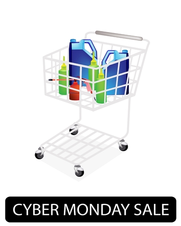 A Shopping Cart Full with Various Size of Engine Oil or Motor Oil Packaging for Cyber Monday Shopping Season and Biggest Discount Promotion in A Year.