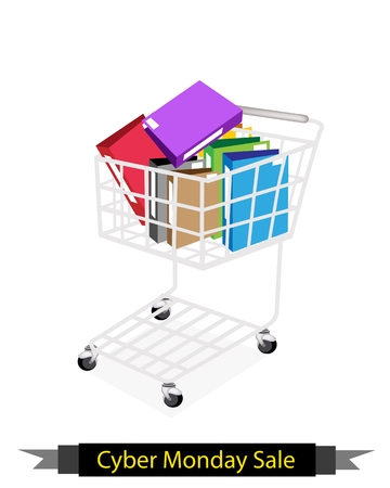 storage data product: Cyber Monday Shopping Cart Full with File Folder or Office Foloder for Black Friday Shopping Season and Biggest Discount Promotion in A Year.  Illustration