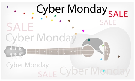 Cyber Monday Sale Background with Guitar and Copy Space for Text Decorated, Sign for Start Christmas Shopping Season.  Vector