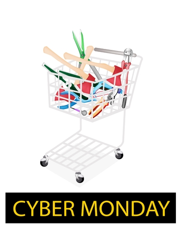dross: Cyber Monday Shopping Cart Full with Carpenter Craft Tools, Axe, Eyelet Punch, Rasp and Awl for Black Friday Shopping Season and Biggest Discount Promotion in A Year.