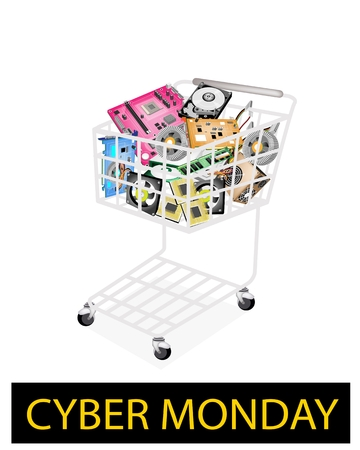 dvd rom: A Shopping Cart Full with Computer Hardwares for Cyber Monday Shopping Season and Biggest Discount Promotion in A Year.  Illustration