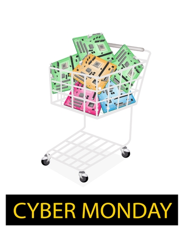 dvi: A Shopping Cart Full with Various Colors Computer Mother Board or Computer Mainboard for Cyber Monday Shopping Season and Biggest Discount Promotion in A Year.