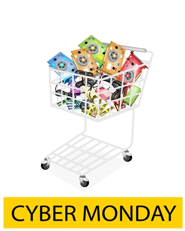 cell charger: A Shopping Cart Full with Computer Hardwares for Cyber Monday Shopping Season and Biggest Discount Promotion in A Year.  Illustration
