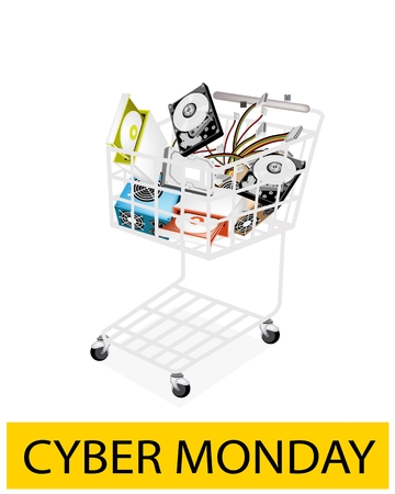 A Shopping Cart Full with Set of Hardware Computer for Cyber Monday Shopping Season and Biggest Discount Promotion in A Year.  Vector