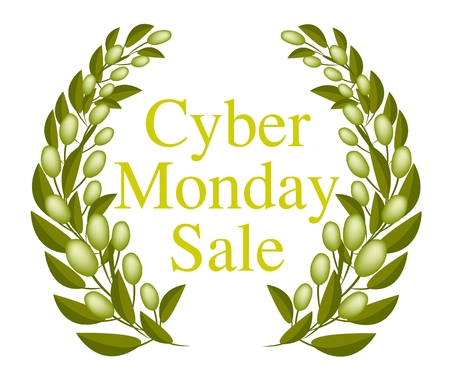 Illustration of Beautiful Cyber Monday Laurel Wreath for Shopping Season and Biggest Discount Promotion in A Year.  Vector