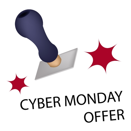 stamper: Handle Stamper Ready to Stamping Black Friday Offer for Cyber Monday Shopping Season and Biggest Discount Promotion in A Year.  Illustration