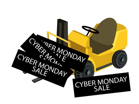 Powered Industrial Forklift Loading Cyber Monday Deal Card for Start Christmas Shopping Season and Biggest Discount Promotion in A Year.  Vector