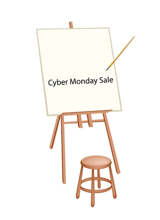 Wooden Easel with Word Cyber Monday Sale, Sign for Shopping Season and Biggest Discount Promotion in A Year.  Vector