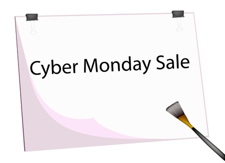 Art Board or Artist Clipboard  with Word Cyber Monday Sale for Shopping Season and Biggest Discount Promotion in A Year.  Vector