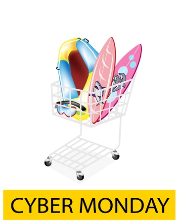 A Shopping Cart Full with Inflatable Boat or Inflatable Raft, Surfboards and Scuba Mask for Cyber Monday Shopping Season and Biggest Discount Promotion in A Year.  Vector