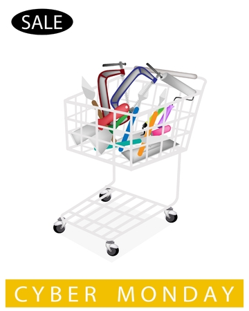 A Shopping Cart Full with Builder Tools or Hand Tools for Cyber Monday Shopping Season and Biggest Discount Promotion in A Year.  Vector