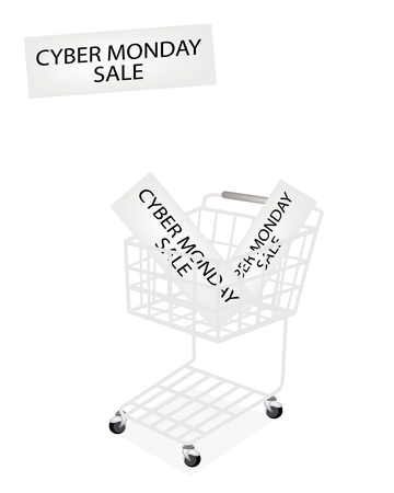 Shopping Cart with Cyber Monday Sale Label, Sign for Start Christmas Shopping Season and Biggest Discount Promotion in A Year.  Vector