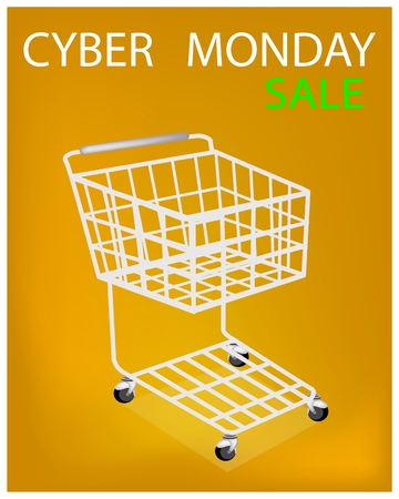 Shopping Cart on Cyber Monday Sale, Sign for Start Christmas Shopping Season and Biggest Discount Promotion in A Year.  Vector