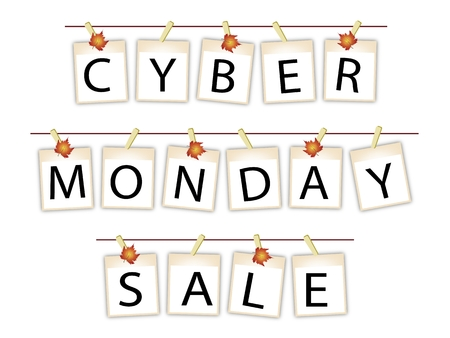 Cyber Monday Shopping Banner of Instant Photo Prints or Polaroid Frames Hanging on Maple Leaf Clothespins, Sign for Start Christmas Shopping Season.  Vector