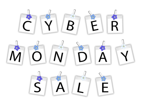 Cyber Monday Shopping Banner Instant Photo Prints or Polaroid Frames with Forget Me Not Clothespins, Sign for Start Christmas Shopping Season.  Vector