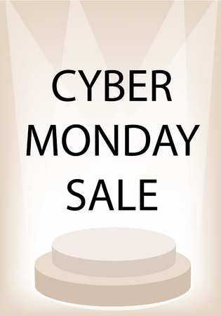 strobe light: Cyber Monday Sale Promotion on Brown Retro Stage, Sign for Start Christmas Shopping Season and Biggest Discount Promotion in A Year.  Illustration