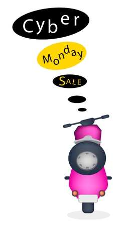 Cyber Monday, An Illustration of Motorcycle with Black Friday Flag for Start Christmas Shopping Season and Biggest Discount Promotion in A Year.