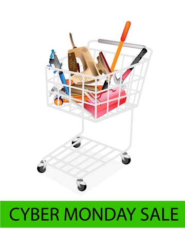 Cyber Monday Shopping Cart Full with Various Type of Auto Service and Repair Tool Kits for Black Friday Shopping Season and Biggest Discount Promotion in A Year.  Vector