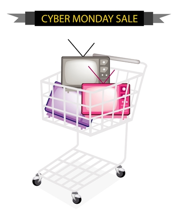 Cyber Monday Shopping Cart Full with Various Colors of Retro Television for Black Friday Shopping Season and Biggest Discount Promotion in A Year.  Vector