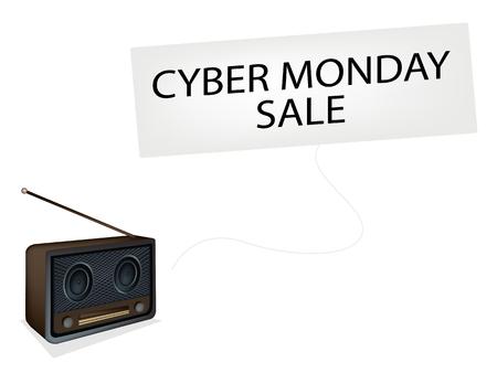 Cyber Monday, Vintage or Retro Revival Radio Broadcasting Black Friday News, Sign for Start Christmas Shopping Season.