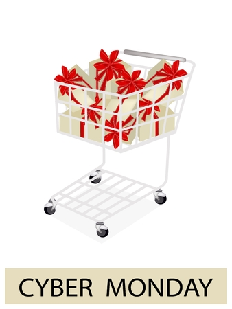 Shopping Cart with Cyber Monday Sale Banner, Sign for Start Christmas Shopping Season and Biggest Discount Promotion in A Year.  Vector