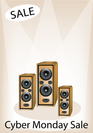 Audio Speaker Announcing Cyber Monday Sale, Sign for Start Christmas Shopping Season and Biggest Discount Promotion in A Year.  Vector