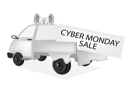 Cyber Monday, A Pickup Truck Full with Huge Black Friday Card for Start Christmas Shopping Season and Biggest Discount Promotion in A Year.  Vector