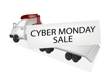 A Flatbed Truck, Tractor Trailer or Flatbed Articulated Lorry Delivering Huge Cyber Monday Card for Start Christmas Shopping Season.  Vector