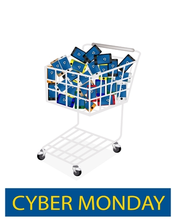 A Shopping Cart Full with Various Colors of Cellular Phone or Mobile Smart Phone for Cyber Monday Shopping Season and Biggest Discount Promotion in A Year.  photo