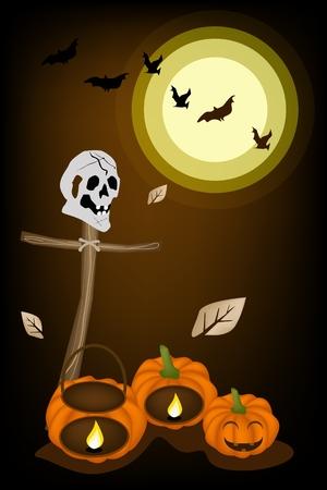 cruz de madera: Antecedentes de Halloween de la Jack-o-Lantern Pumpkins y Cestas de calabaza con la cruz de madera y cr�neos humanos, �nete para la celebraci�n de Halloween Vectores