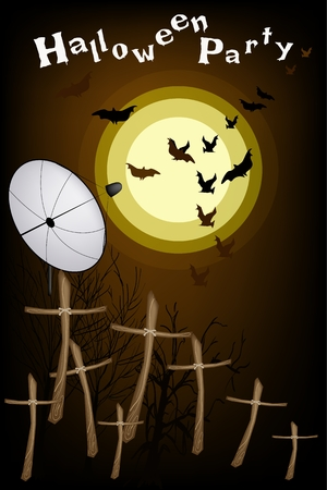 Halloween Background of The Graveyard in Full Moon Night with Wooden Cross and Evil Bat, Sign for Halloween Celebration Vector