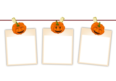 instant message: Illustration of Three Blank Instant Photo Prints or Instant Print Transfer Hanging on Jack-o-Lantern Pumpkin Clothespins, Sign for Halloween Celebration.